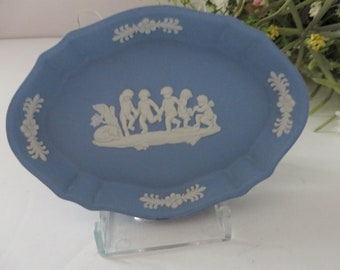 Wedgwood Jasperware pale blue vintage 1970's oval pin dish