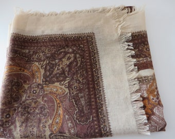 Vintage brown, burnt orange and cream scarf