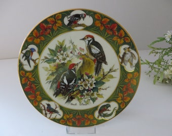 Schirnding Bavaria  vintage 1994 woodpeckers and apple blossoms plate