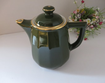 Apilco large 1980's green and gold coffee pot