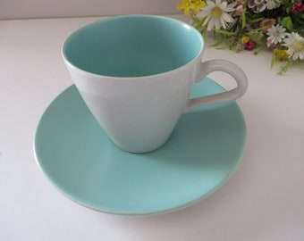 Poole Pottery vintage 1960's turquoise blue and Dove grey teacup and saucer