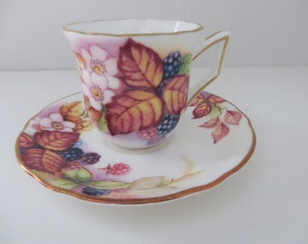 Royal Worcester vintage 1990's Brambles coffee cup and saucer