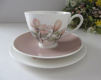 Royal Adderly vintage 1960's pink floral Ophelia tea trio