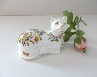 Aynsley vintage 1970's Cottage garden  cat trinket box