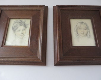 Vintage set of two 1970's Portraits on silk by Rene David