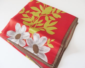 Vintage 1960's burnt orange and yellow floral Italian made scarf