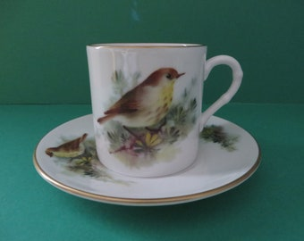 Royal Worcester vintage 1990's The Thrush coffee cup and saucer
