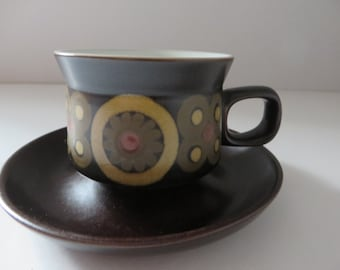 Denbyware vintage 1970's Arabesque teacup and saucer