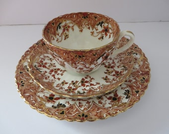 Samuel Radford 1880's  rustic red and gold tea trio