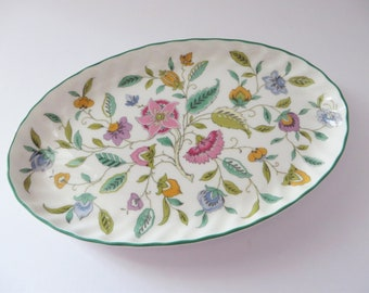 Minton Haddon Hall green floral vintage 1980's oval dish