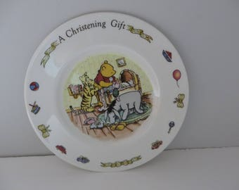 Royal Doulton Winnie the Pooh vintage 1980's christening plate