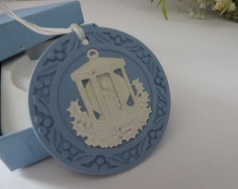 Wedgwood Jasperware blue vintage 1990's Christmas Lantern tree decoration