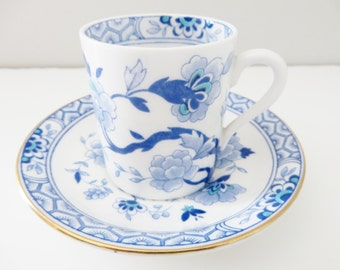 Tuscan vintage 1960's Mandarin blue vintage coffee cup and saucer
