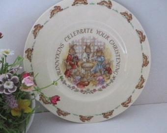 Bunnykins  vintage 1984 christening plate