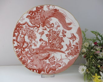 Royal Crown Derby Red Aves vintage 1980's large plate
