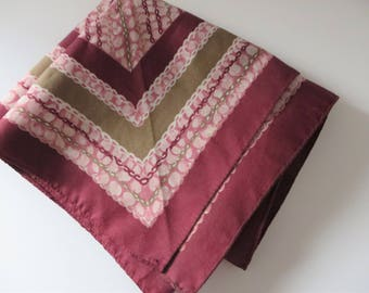 Vintage 1980's plum and pink scarf