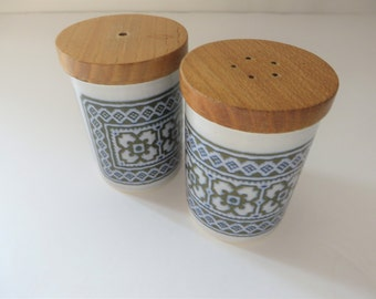 Hornsea vintage blue tapestry Salt and Pepper set