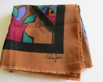 Cornelia James vintage 1980's brown,black and red scarf