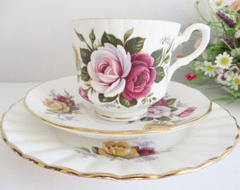 Royal Stafford 1960's vintage rose tea trio