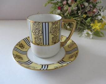 Noritake Antique 1920's Yellow and black coffee cup and saucer