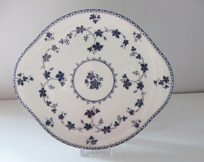Featured listing image: Royal Doulton 1960's vintage blue floral cake plate