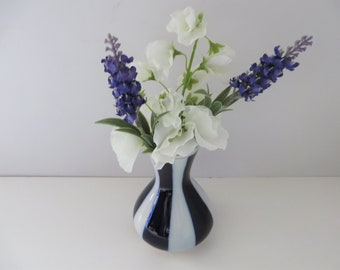 Soviet Russian Blue and white striped vintage 1980's posy vase