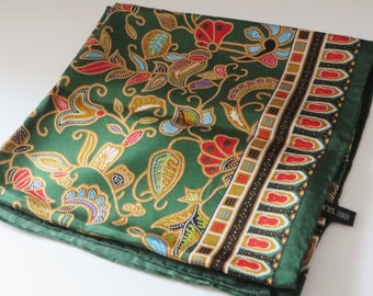 Sinar Pagi green and red silk scarf