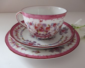 Antique 1900's pink floral tea trio