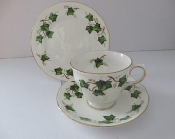 Colclough vintage 1960's Ivy Leaf Bell shape tea trio 2nd Quality