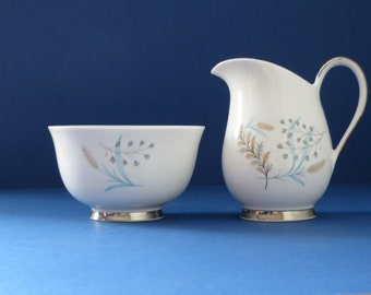 Queen Anne vintage 1950's Glade milk jug and sugar pot set