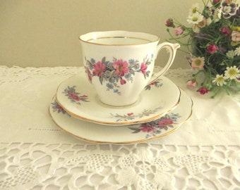 Bell vintage 1930's pink floral  tea trio