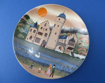 Poole Pottery vintage 1980's lakeside scene decorative plate