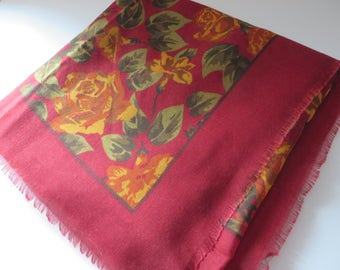 Tie Rack vintage early 1990's red fringed floral scarf