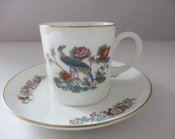 Wedgwood Kutani Crane vintage 1980's  coffee cup and saucer
