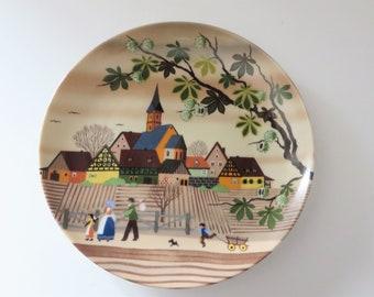 Barbara Furstenhofer vintage 1980's Autumn wall plate, Folk art