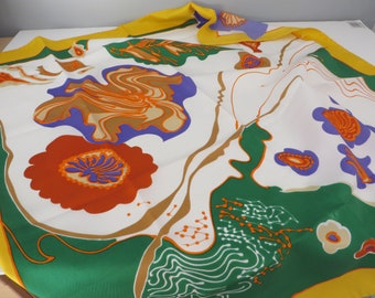 Vintage 1990's summer yellow, green and orange floral scarf