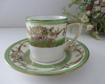 Noritake antique 1900's green and gold coffee cup and saucer