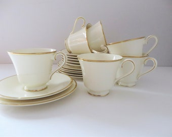 Royal Doulton vintage 1980's white and gold Heather tea trio