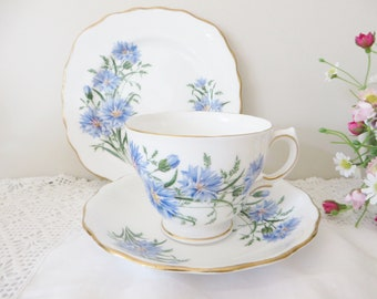 Royal Vale vintage 1970's blue floral tea trio