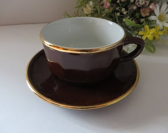 Apilco french vintage 1980's  brown Cappuccino cup and saucer