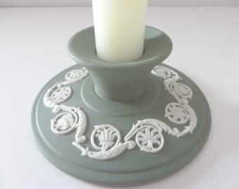 Wedgwood Jasperware vintage 1970's sage green candle holder