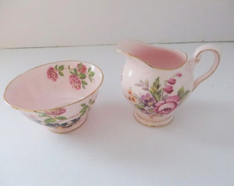 Tuscan vintage 1950's pink floral mix and match small creamer set