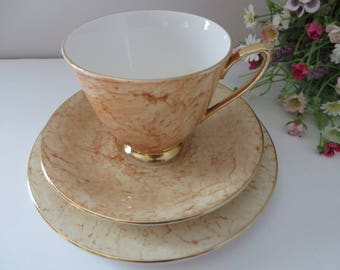 Royal Albert vintage 1970's Gossamer Peach tea trio