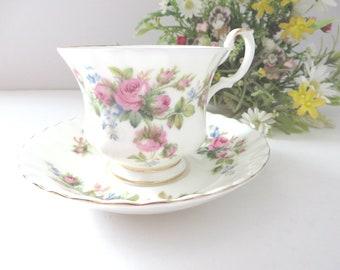 Royal Albert 1970's vintage Moss Rose teacup and saucer