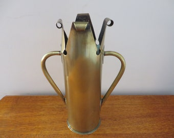 Trench Artillery militaria brass 1940's shell vase