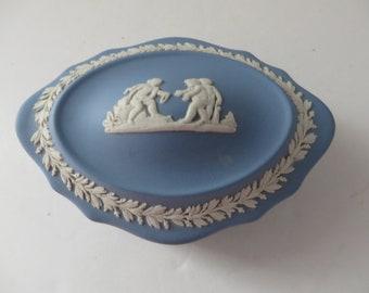 Wedgwood Jasperware vintage 1970's blue trinket box