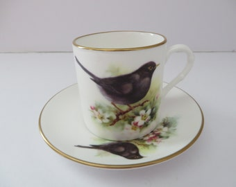 Royal Worcester vintage 1990's The Blackbird coffee cup and saucer