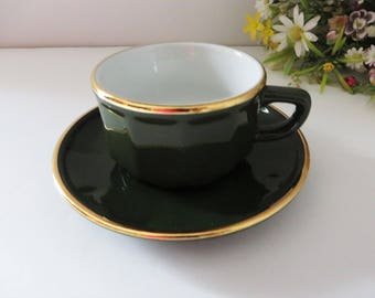 Apilco vintage 1980's green and gold coffee cup and saucer