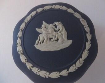 Wedgwood Jasperware 1970's vintage dark blue round trinket box