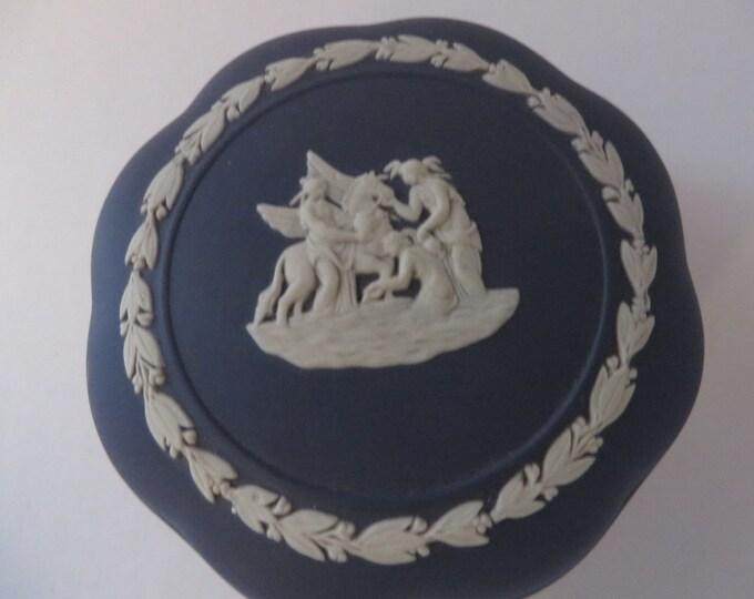 Featured listing image: Wedgwood Jasperware 1970's vintage dark blue round trinket box